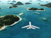 Aircraft flies over a sea. Islangs royalty free illustration