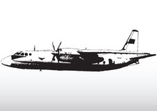 Aircraft in flight. Side view illustration of modern aircraft with propellers in flight with white background stock illustration