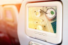 Aircraft In flight entertainment seat-back TV screens royalty free stock photo