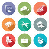 Aircraft and flight Icons Set. Vector Illustration. Royalty Free Stock Photo