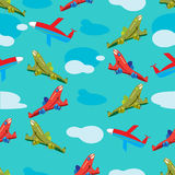 Aircraft in flight seamless pattern Royalty Free Stock Images
