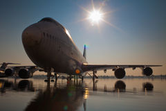 Aircraft on flooded runway Royalty Free Stock Photo