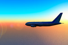 Aircraft in fly to sunset. Aircraft in fly over sea to sunset Stock Photo