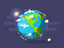 Aircraft flying around the world. Trave airplane globe, earth global trip. Vector illustration Stock Image