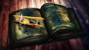 Aircraft flying from old books Royalty Free Stock Photography