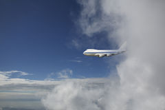 Aircraft flying out cloud Royalty Free Stock Images
