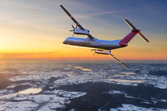 Aircraft flying on the sky Royalty Free Stock Photography