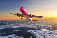 Aircraft flying on the sky. Stock Images