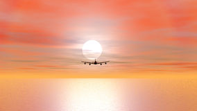 Aircraft flying by sunset - 3D render. Shadow of an aircraft flying upon the sea by sunset and coming to and upon the camera stock illustration
