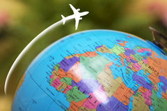Travel concepts and destinations. Aircraft flying with the world map, travel concepts Royalty Free Stock Photography