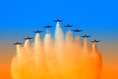 Aircraft in formation. In the sky Royalty Free Stock Image