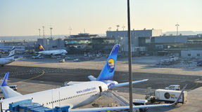 Aircraft in Frankfurt airport courtyard stock image