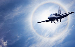 Aircraft in front of sun Royalty Free Stock Photo