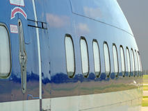 Aircraft fuselage. A detailed shot of an aircraft fuselage Stock Image