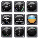 Aircraft gauges set Stock Photos