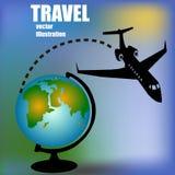 Aircraft and globe Stock Photos