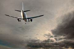 Aircraft on gray sky Royalty Free Stock Photography