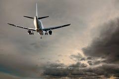 Aircraft on gray sky Royalty Free Stock Photography