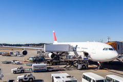 Aircraft Ground Handling at the Airport Terminal. A commercial aircraft being serviced at the terminal of an international airport Stock Photo