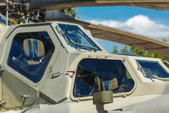 Aircraft gun installed on military helicopter Royalty Free Stock Photography