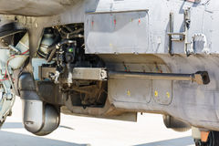 Aircraft gun installed on military helicopter Stock Photo