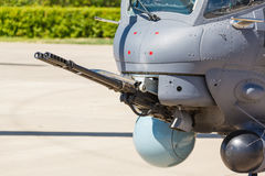 Aircraft gun installed on military helicopter Royalty Free Stock Image