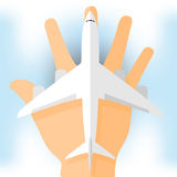 Aircraft on hand. For tourists, white,  format Stock Images