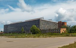 Aircraft hangar with blue sky Royalty Free Stock Image