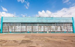 Aircraft hangar with blue sky Royalty Free Stock Images