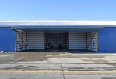 Aircraft hangar. Empty open small aircraft hangar Stock Photo