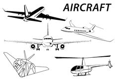 Aircraft. Helicopter. Stealth. Plane abstract lines vector logo. Vector illustration royalty free illustration