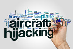 Aircraft hijacking word cloud concept Stock Image