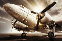 Aircraft. Historical aircraft on a runway royalty free stock photography