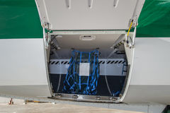 Aircraft Hold. Aircraft cargo compartment stocking luggage (cargo bay Stock Image