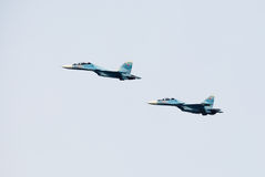 Aircraft holiday, demonstration performances of military pilots Stock Photo