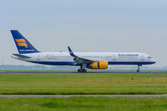 Aircraft Icelandair Boeing 757 TF-FIA is landed at the airport. Stock Photography