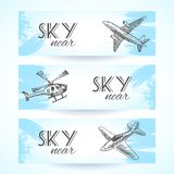 Aircraft icons banners sketch Royalty Free Stock Images