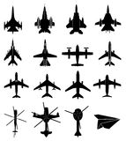 Aircraft icons set. In black Royalty Free Stock Images