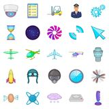 Aircraft icons set, cartoon style. Aircraft icons set. Cartoon set of 25 aircraft vector icons for web isolated on white background Stock Photos