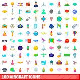 100 aircraft icons set, cartoon style. 100 aircraft icons set in cartoon style for any design vector illustration Stock Photos