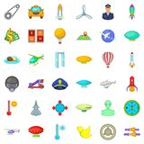 Aircraft icons set, cartoon style. Aircraft icons set. Cartoon style of 36 aircraft vector icons for web isolated on white background Stock Photo
