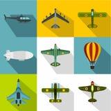 Aircraft icons set, flat style. Aircraft icons set. Flat illustration of 9 aircraft vector icons for web Royalty Free Stock Photos