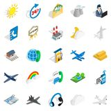 Aircraft icons set, isometric style. Aircraft icons set. Isometric set of 25 aircraft vector icons for web isolated on white background Royalty Free Stock Photography