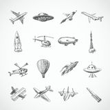 Aircraft icons sketch. Aircraft helicopter military aviation airplane sketch icons set isolated vector illustration Stock Photos