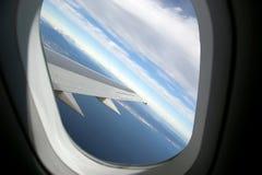 Aircraft illuminator window view Stock Photos
