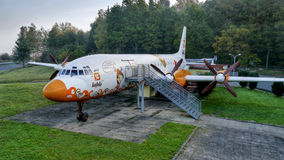 The aircraft Ilyushin Il-18, modified to the restaurant. Stock Photo