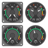 Aircraft indicators 1 - 480B dashboard set. Oil temperature pressure indicator and torque indicator of helicopter (Enstrom 480B) with alternative dial. Isolated Stock Photo