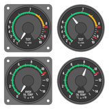 Aircraft indicators 2 - 480B dashboard set. TOT indicator and XMSN Oil Press indicator of helicopter (Enstrom 480B) with alternative dial. Isolated on white Royalty Free Stock Image