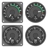Aircraft indicators 3 - 480B dashboard set. N1 engine speed indicator and Fuel indicator of helicopter (Enstrom 480B) with alternative dial. Isolated on white Royalty Free Stock Photos