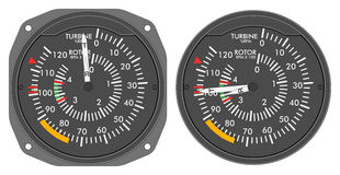 Aircraft indicators 4 - 480B dashboard set. Rotor / turbine RPM indicator of helicopter (Enstrom 480B) with alternative dial. Isolated on white background with Stock Photo